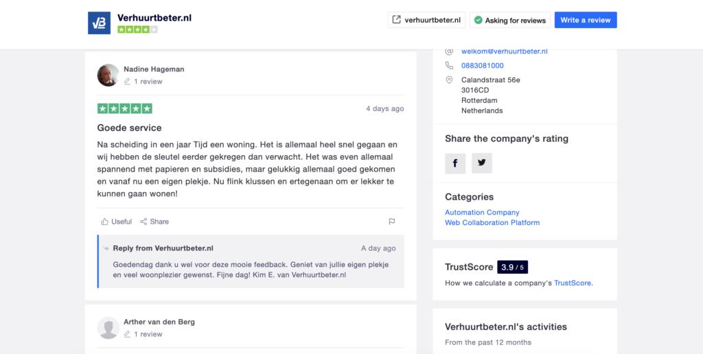 Trustpilot recensiepagina